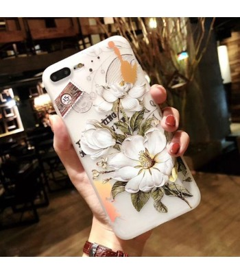 3D iPhone Case - Red Flowers And White Flowers (2 Pieces Included)