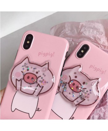 iPhone Piggy Liquid Glitter Stars Case