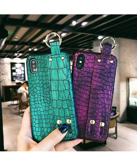 Lux Crocodile Grain iPhone X Case With Strap