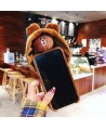 Cute Fluffy Hat Brown Bear iPhone Case