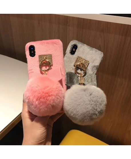 iPhone X Fuzzy Fluffy Ball Protective Case