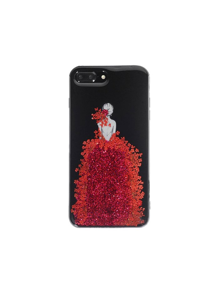 Real Floral iPhone Case - The Girl In Red Floral Dress