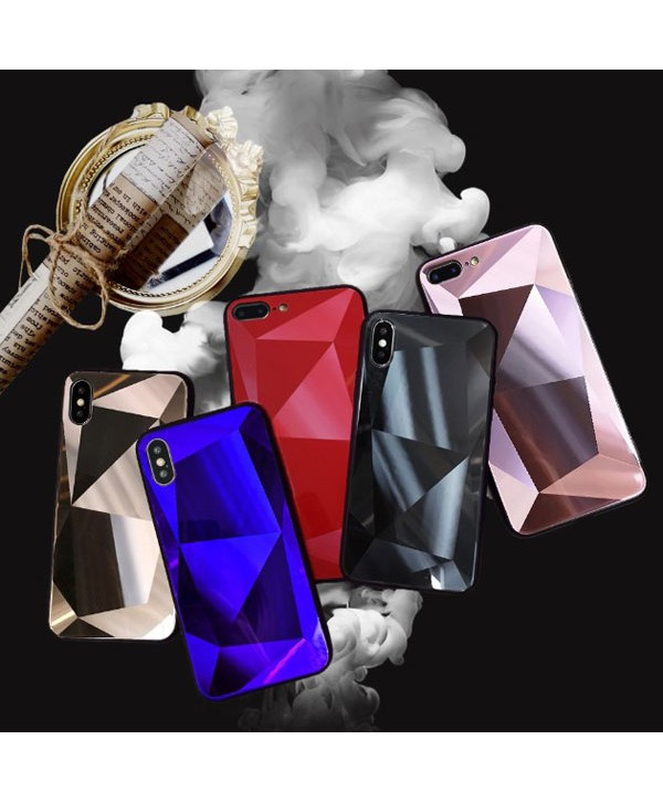 iPhone X Prismatic Diamond Tempered Glass Case
