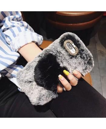 iPhone X Fluffy Fuzzy Fur Heart Case