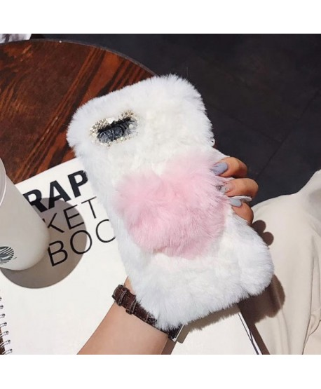 iPhone XR Fluffy Fuzzy Fur Heart Case