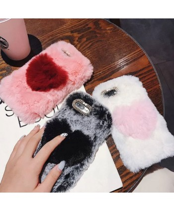 iPhone X Fluffy Fuzzy Fur Heart Case