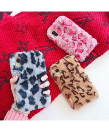 iPhone X Leopard Print Fluffy Fur Case