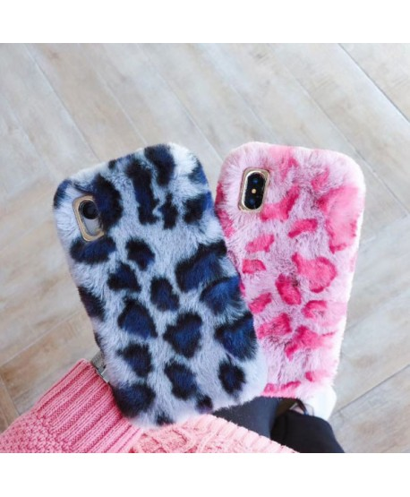 iPhone XS Max Leopard Print Fluffy Fur Case