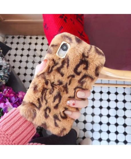 iPhone XR Leopard Print Fluffy Fur Case