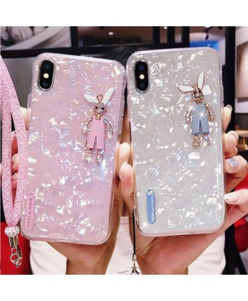 iPhone X Rhinestone Bunny Conch Shell Effect Case