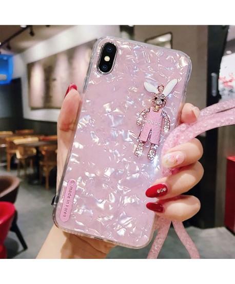 iPhone XR Rhinestone Bunny Conch Shell Effect Case