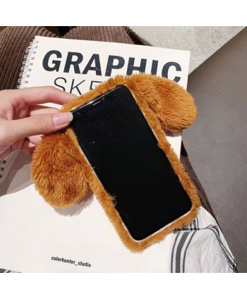 iPhone X Fluffy Fur Puppy Protective Case