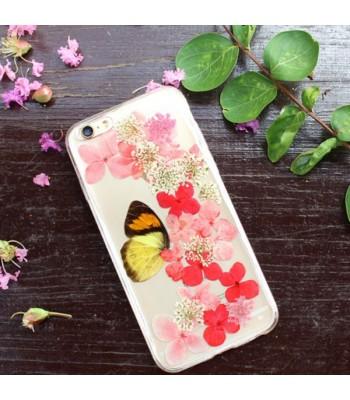 Pressed Flower iPhone Case - Butterfly loves flower