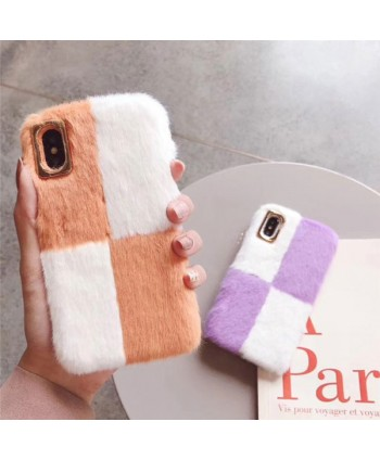 iPhone X Color Blocking Fluffy Fur Case