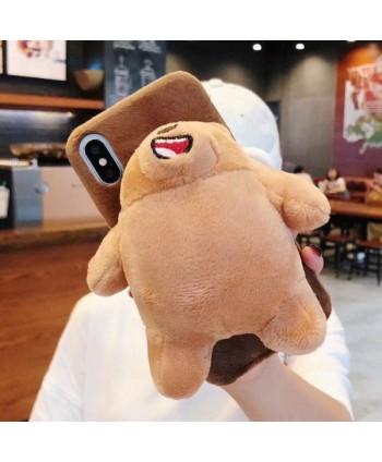 iPhone Cute 3D Plush Brown Bear Case