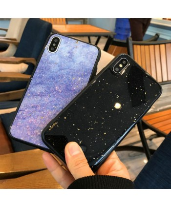 Couple iPhone X Gold Flake Starry Night Case