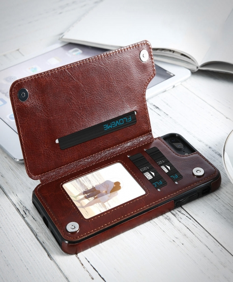 Retro PU Leather Card Slots Bracket Case for iPhone