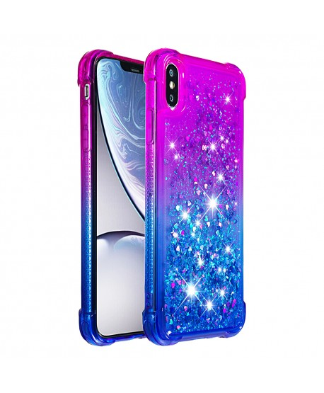 Slim Fit Gradient Liquid Glitter IPhone Case Purple&Blue