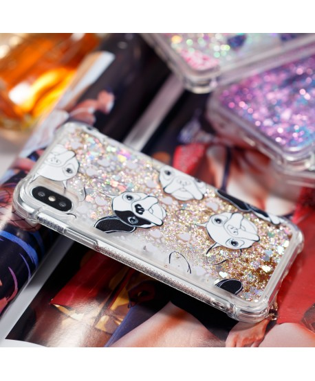 ShockProof Cartoon Gradient Liquid Glitter IPhone Case Puppy