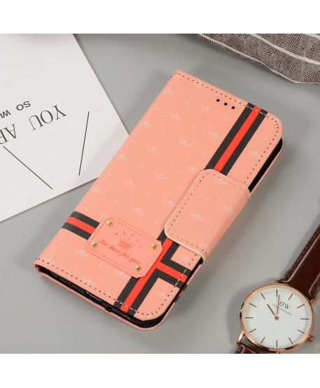Pink Crown Designer Plaid Leather Wallet Case for iPhone Samsung
