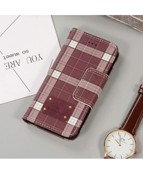 Brown Buberry Designer Plaid Leather Wallet Case for iPhone Samsung