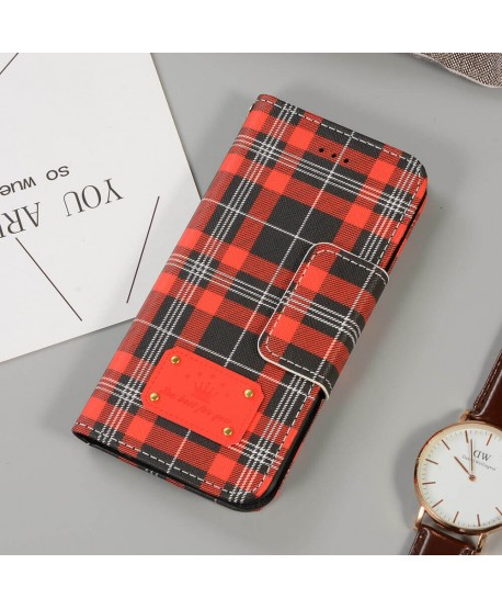 Red Buberry Designer Plaid Leather Wallet Case for iPhone Samsung