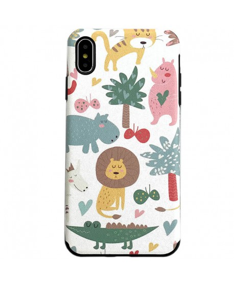 Silk Grain Lion Cartoon Soft Case for iPhone