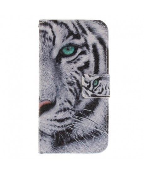 Painting Designer Tiger Leather Wallet Case for iPhone