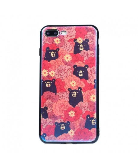 Flower Black Bear Art Case for iPhone Samsung