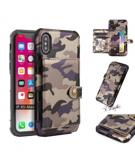 Camouflage Flip Wallet Card Case for iPhone XS Max