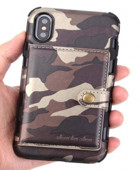 Military Camouflage Shockproof Wallet Card Case for iPhone XR