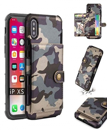 Superstart-iPhone-Xs-Max-Camouflage-Wallet-CaseiPhone-Xs-Max-65-Inch-Classic-Military-Style-Cover-Soft-TPU-Credit-Card-Shockproo