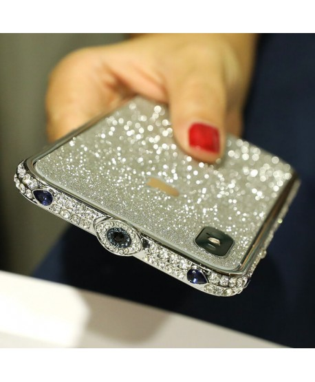 Devil's Eye Bling Rhinestone Metal Bumper iPhone Case Silver
