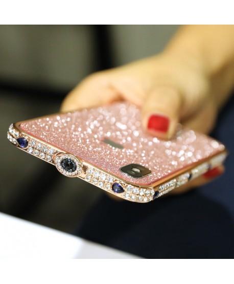 Devil's Eye Bling Rhinestone Metal Bumper iPhone Case Rose Gold