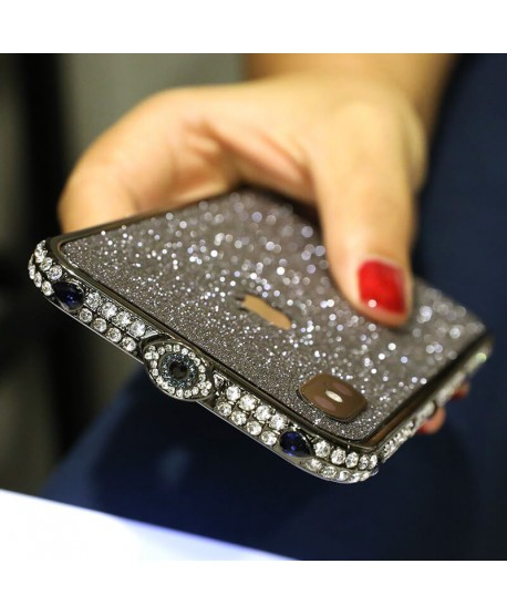 Devil's Eye Bling Rhinestone Metal Bumper iPhone Case Black