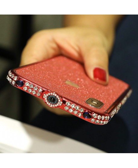 Devil Eye Metal frame Bling Rhinestone Bumper iPhone Case Red