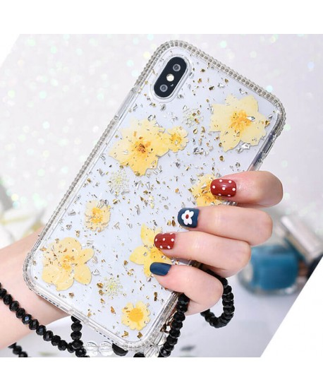 Yellow Flower Glitter Bling Rhinestone ShockProof Case for iPhone