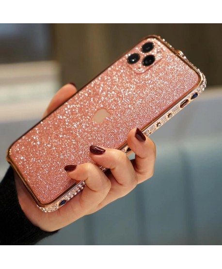 Devil's Eye Bling Rhinestone Metal Bumper iPhone 11 Pro Case Rose Gold
