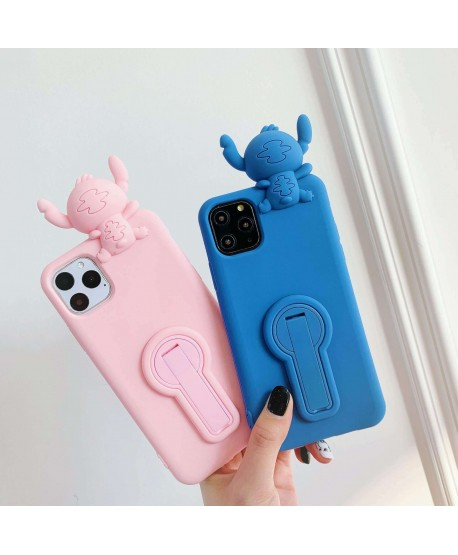Silicone Stitch ShockProof Rotating Bracket Kickstand Case for iPhone 11