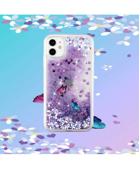 Butterfly Glitter Liquid QuickSand Clear Case for iPhone 12
