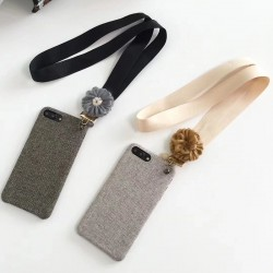 iPhone Cloth Texture Protective Case With Lanyard