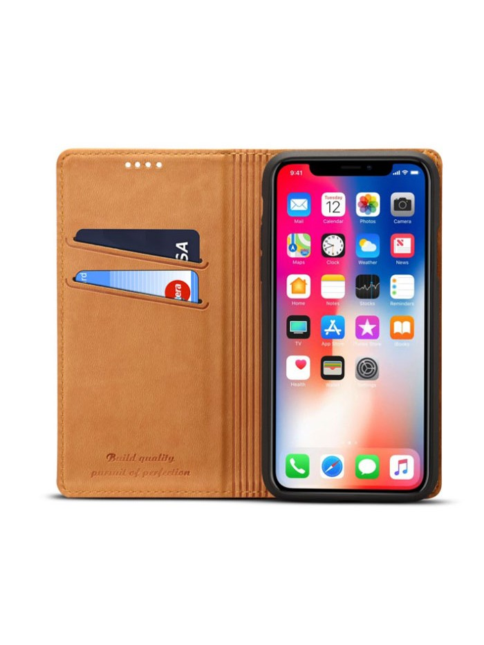 iPhone Xs Genuine Leather Folio Case With Card Holder