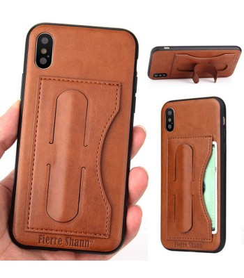 iPhone Xs Max Leather Kickstand Phone Case With Card Holder