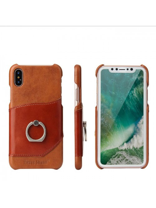 iPhone Xs Leather Card Holder Phone Case With Ring Kickstand