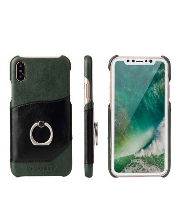 iPhone Xs Max Leather Card Holder Phone Case With Ring Kickstand