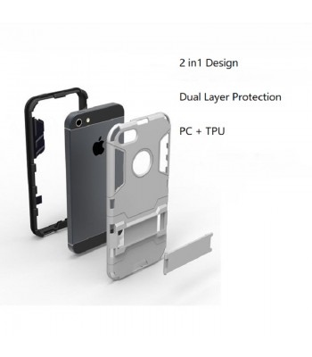 iPhone 6s/6s Plus/7 Heavy Duty 2 in 1 Hybrid TPU + PC Kickstand Shockproof Protective Case