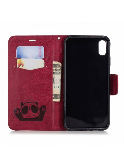 Cute Cartoon Panda Leather Folio Case For iPhone Xs