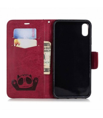 Cute Cartoon Panda Leather Folio Case For iPhone Xs Max