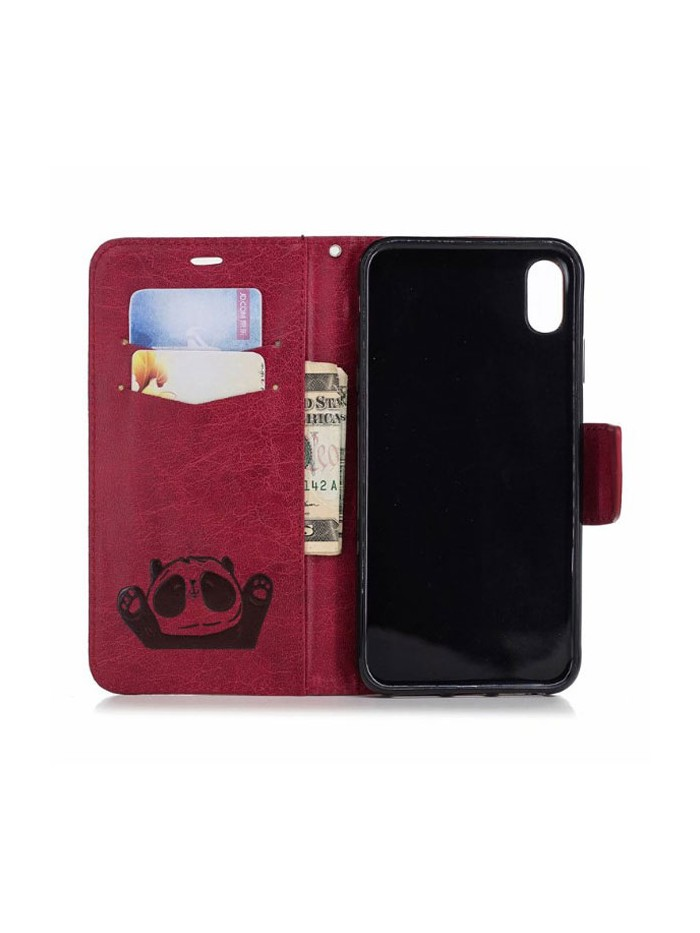 Cute Cartoon Panda Leather Folio Case For iPhone Xs Max