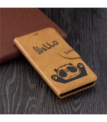 Cute Cartoon Panda Leather Folio Case For iPhone XR